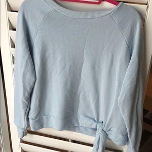 Blue sweater tie bottom